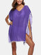 Women Solid Color V-Neck Tassel Sun Protection Cover Up - Purple