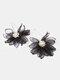Trendy Big Petal Flower Earrings Temperament Alloy Beads Earrings - Black