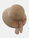 Women Straw Woven Solid Color Bowknot Decoration Outdoor Casual Sunshade Straw Hats - Khaki