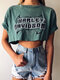 Letters Printed O-Neck Short Sleeve Casual Crop Top - Green