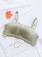 Women Gather Lace Trim Wireless Strapless 1/2 Thin Cup Breathable Bandeau Bras - Green