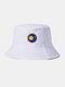 メンズ&ウィメンズプレーンカラープラネットパターンカジュアルSoftアウトドアオールマッチサンシェードバケットハット - 白い