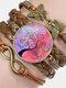 Vintage Tree Of Life Theme Pattern Butterfly Geometric Shape Hand-braided Glass PU Alloy Multi-layer Bracelet - #06