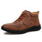 Men Vintage Microfiber Leather Hand Stitching Ankle Boots - Brown