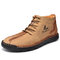 Menico Men Microfiber Leather Hand Stitching Non Slip Casual Ankle Boots - Khaki