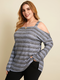 Striped Print Off Shoulder Long Sleeve Plus Size Blouse for Women - Grey