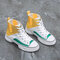 Lace Up Platshoes Splicing High Top Canvas Sneakers For Women - Yellow