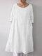 ポケット付きソリッドカラー3/4スリーブルーズコットンプラスサイズドレス - 白い