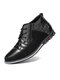 Men Round Toe Lace Up Business Casual Leather Ankle Boots - Black