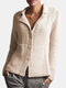 Solid Color Button Long Sleeve Casual Cardigan For Women - Beige
