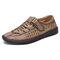 Menico Men Woven Style Breathable Soft Non Slip Microfiber Leather Shoes - Khaki