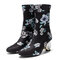 Women Comfy Stylish Embroidered Flowers Cloth Elastic Slip On Chunky Heel Short Boots - Black