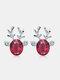 Christmas Crystal Gem Women Ear Stud Stereoscopic Reindeer Earrings - #01