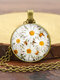 Alloy Glass Vintage Daisy Floral Pattern Printed Long Sweater Necklace - Gold