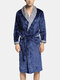 Mens Geometric Patterns Patchwork Lapel Thicken Warm Flannel Belted Cozy Loose Pajamas Robe - Navy