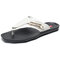 Men Leather Slip Resistant Metal Buckle Soft Casual Beach Slippers - White