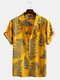 Mens 100% Cotton Leaf Printed Chest Pocket Turn Down Collar Short Sleeve  Shirts - Yellow
