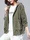 Corduroy Patchwork Plus Size Hooded Coat with Pockets - Green