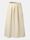 Solid Color Elastic Waist Plus Size Casual Skirt with Pockets - Beige