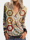 Calico Print Long Sleeve V-neck Casual Blouse For Women - Brown