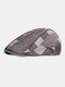 पुरुषों प्लेड पैटर्न पैचवर्क रंग आकस्मिक फैशन Sunvisor फ्लैट टोपी फॉरवर्ड टोपी बेरेट टोपी - धूसर