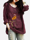 Cat Floral Printed O-Neck Long Sleeve Blouse - Wine Red