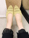 Women Casual Pointed Toe Shallow Breathable Knitted Flats - Yellow