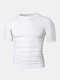 Men Stitching Compression Thermal Undershirt T-Shirt Breathable Elastic Breathable Workout Track Tops - White
