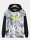 Mens Cotton No Printing Faux Twinset Loose Pullover Hoodie - Black