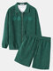 Mens Embroidery Elastic Hem Corduroy Jacket Two Pieces Outfits With Shorts - Green