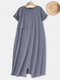 Casual Button Stitching Short Sleeve Plus Size Maxi Dress - Grey