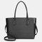 QUEENIE Casual Shopping Multifunction Handbag Ripple Shoulder Bag - Black