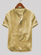 Mens Cotton Linen Vintage Solid Stand Collar Casual Henley Shirt - Yellow