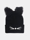Women Warm Elastic Casual Cartoon Cute Cat Embroidery Pattern Knitted Hat Brimless Beanie - Black