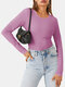 Solid Color O-neck Long Sleeve Casual T-Shirt For Women - Pink