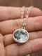 Double-Sided Glass Ball Women Necklace Gray Moon Pendant Necklace Jewelry - Silver