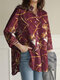 Scarf Print Pocket Button Long Sleeve Loose Lapel Women Blouse - Red