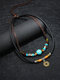 Vintage Coins Turquoise Geometry-shape Alloy Cowhide Wax Rope Necklace - Black