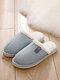 Women Casual Solid Color Closed Toe Flat Comfortable Warm Home Shoes - Blue