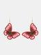 Christmas Red Flower Women Earrings Hollow Butterfly Tassel Pendant Earrings Jewelry Gift - #03