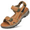 Men Genuine Leather Non Slip Air-cushionSole Casual Outdoor Sandals - Brown