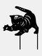 1PC 革新的なアクリルシミュレーション漫画猫屋外の庭の装飾挿入カードアート中空装飾工芸品家の庭の装飾品 - #06