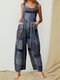 Printed Patchwork Square Collar Front Pockets Sleeveless Jumpsuits - Black