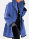 Solid Color Long Sleeve Lapel Collar Casual Coat For Women - Blue