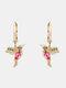 Alloy Cute Micro-set Bird-shape Earrings For Women - Rose