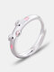 Cute Opening Alloy Silver Plated Couple Piggy Zodiac Animal Epoxy Ring - Pink