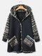 Пальто с капюшоном и карманом в стиле пэчворк с винтажным принтом - Флот