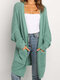 Solid Color Long Sleeve Losse Knit Cardigan For Women - Green