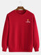 Mens Crown Letter Printing Cotton Plain Casual Crew Neck Sweatshirts - Red