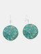 Vintage Geometric Round Alloy Glass Plum Blossom Pattern Print Earrings - Silver